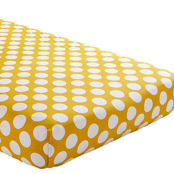 Organic Not a Peep Yellow and White Dot Crib Fitted Sheet