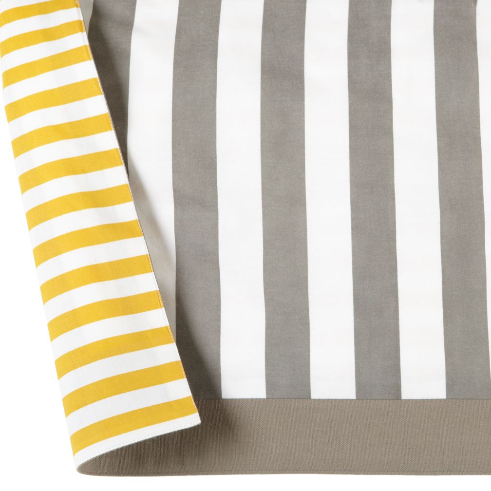 organic not a peep yellow and grey reversible crib skirt the land of nod