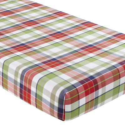 Crib Fitted Sheet (Blue Plaid)