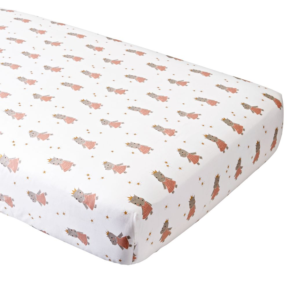 Organic Royal Hippo Crib Fitted Sheet