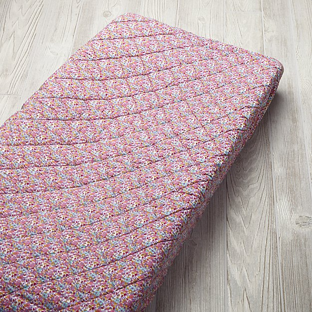 Shy Little Kitten Pink Changing Pad Cover
