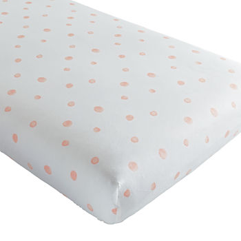 Organic Washed Dot Crib Fitted Sheet