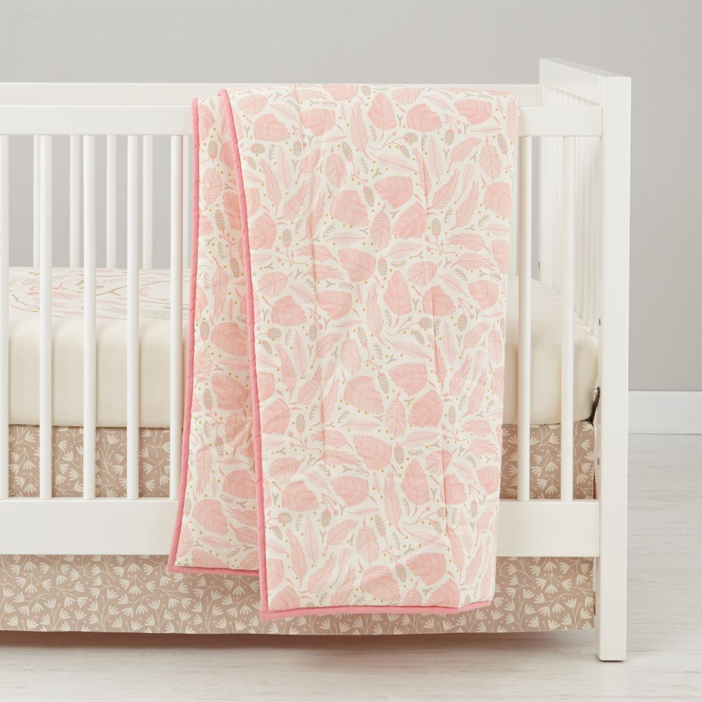 forest themed baby bedding (pink)  the land of nod -