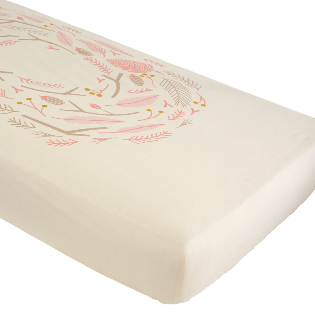 organic well nested pink nest crib fitted sheet  the land of nod -