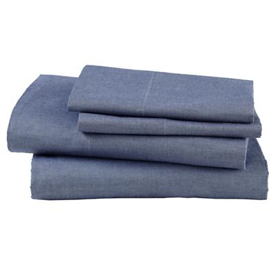 Full  Blue Chambray Sheet Set