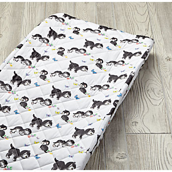 Shy Little Kitten White Changing Pad Cover