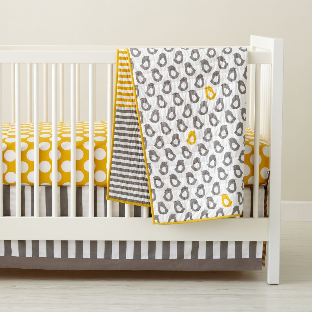Design Baby Bed Set baby crib bedding grey yellow patterned the land of nod