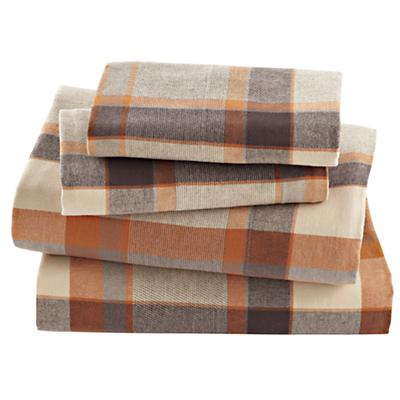Brown Plaid Flannel Sheet Set (Full)