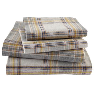 Grey Plaid Flannel Sheet Set (Full)