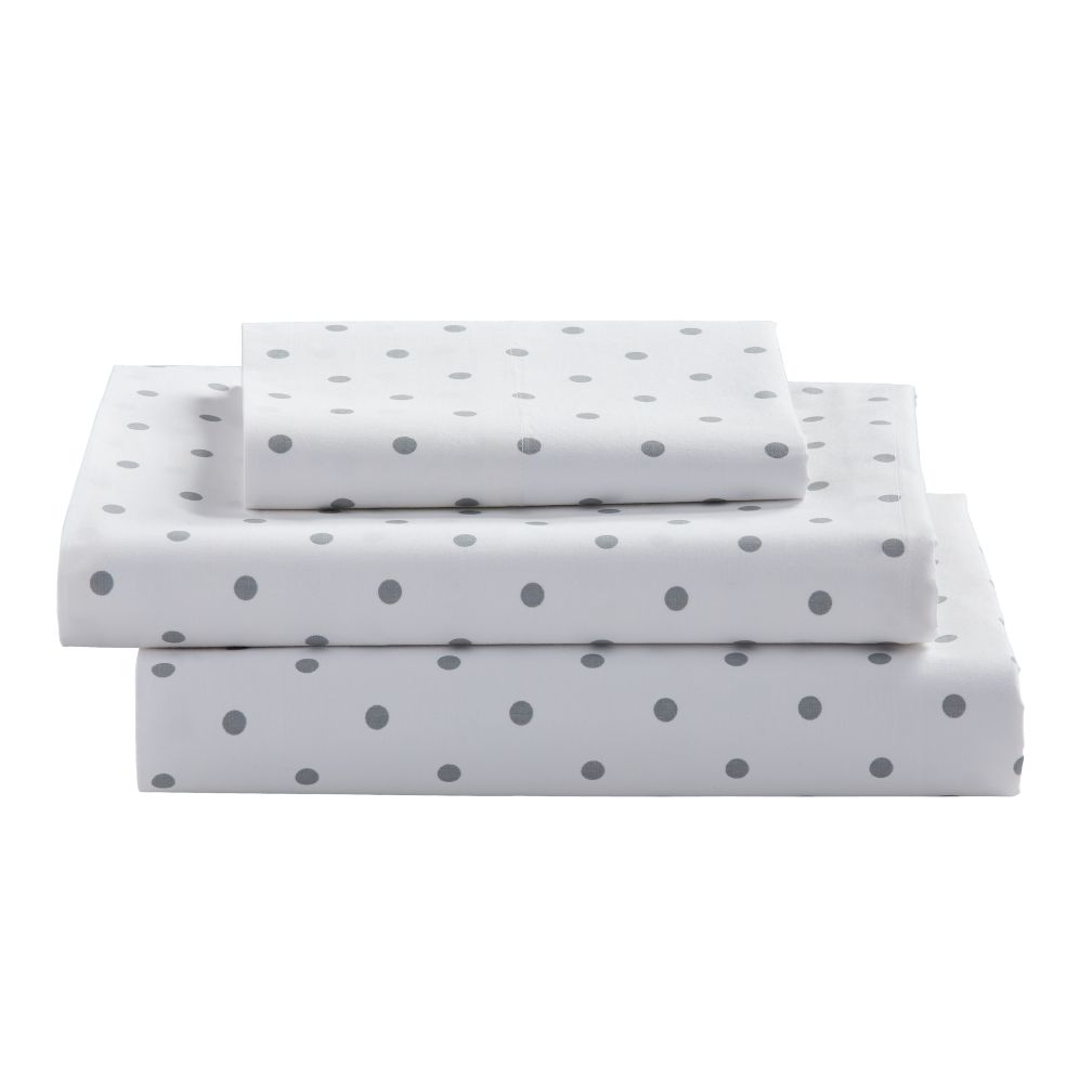 Organic Go Lightly Grey Dot Twin Sheet Set