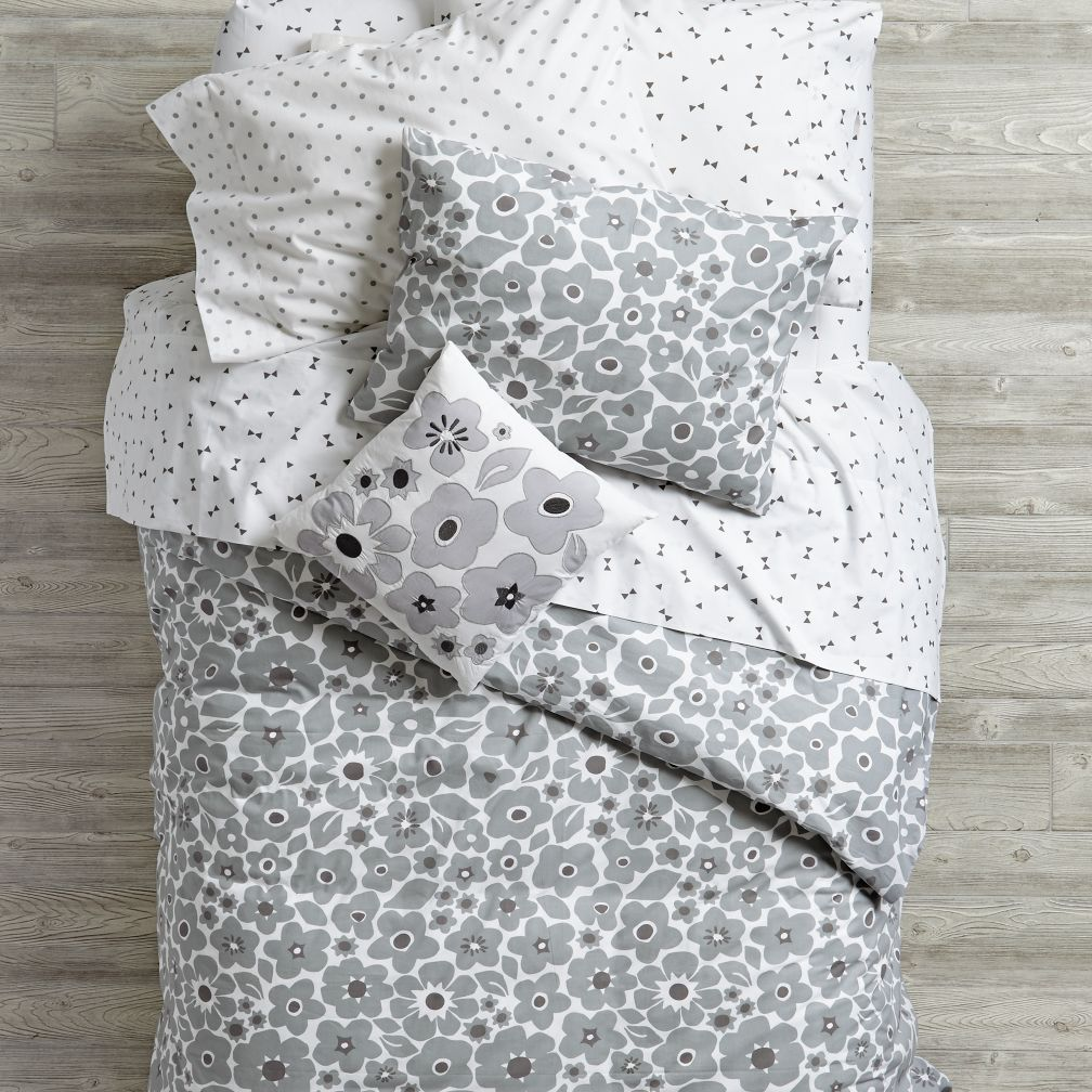 Go Lightly Floral Duvet Cover (Grey)