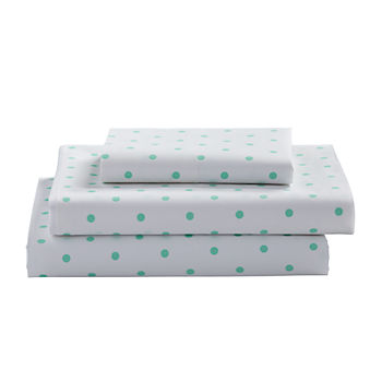 Organic Go Lightly Mint Dot Twin Sheet Set