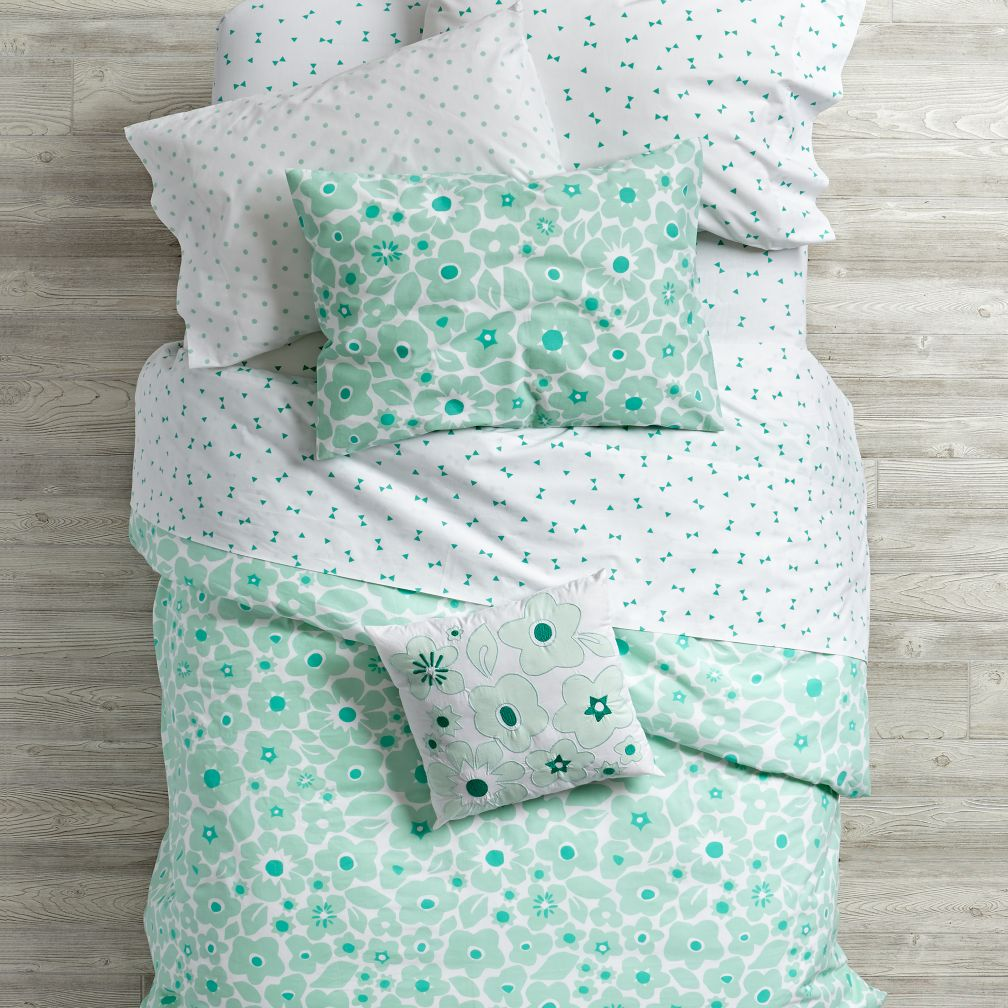 Go Lightly Floral Duvet Cover (Mint)