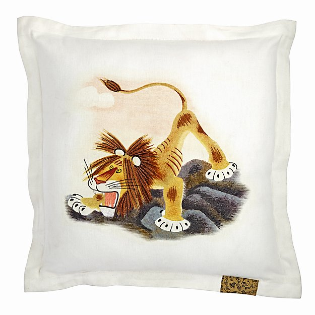 Tawny Scrawny Lion Square Throw Pillow