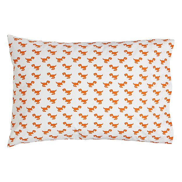 Little Prints Pillowcase (Orange Dinosaur)