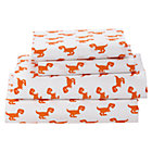 Organic Little Prints Orange Dino Queen Sheet Set