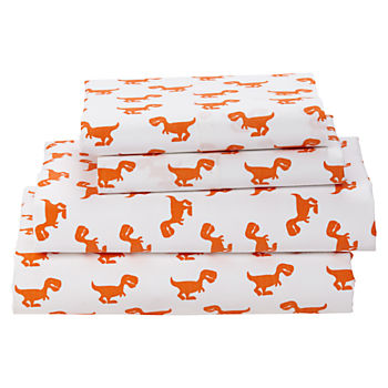 Organic Little Prints Orange Dino Full Sheet Set