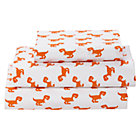 Organic Little Prints Orange Dino Twin Sheet Set