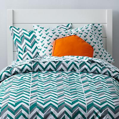 Little Prints Duvet Cover (Green Zig Zag)