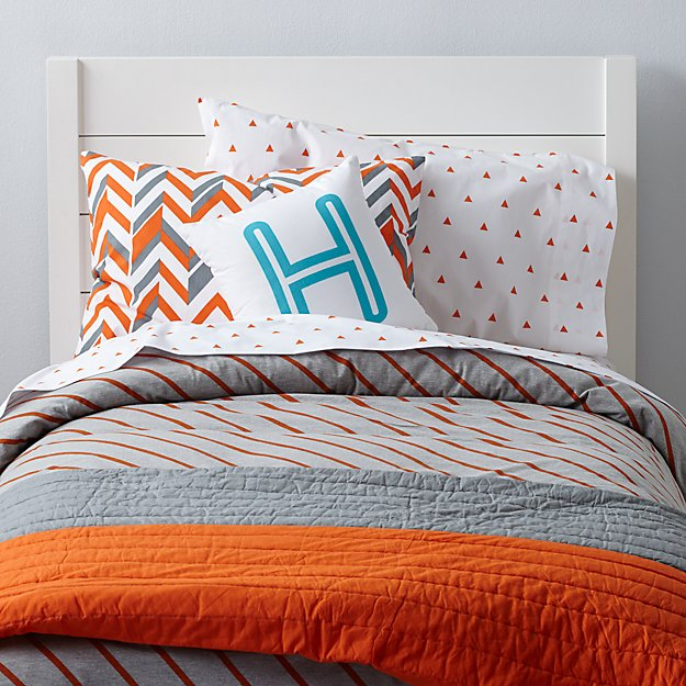 little boy beds prints bedding orange the land of nod 29537