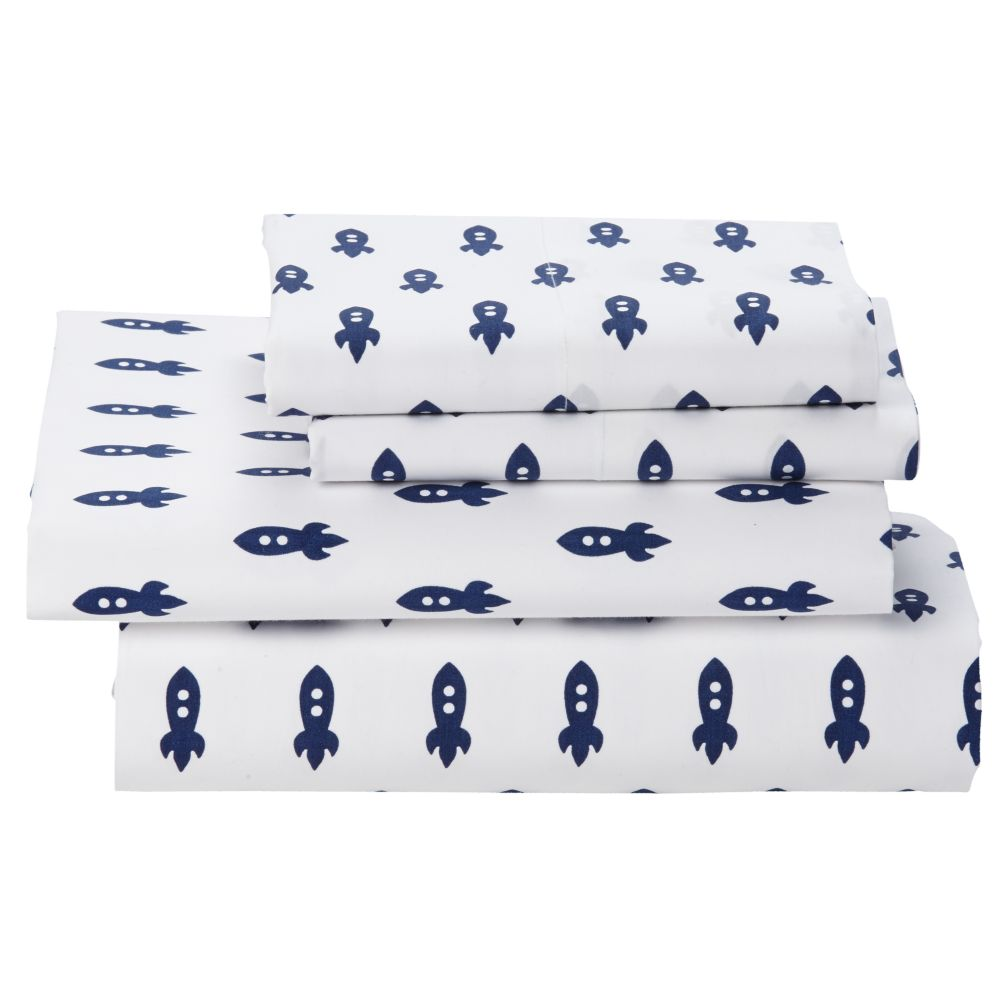 Queen Little Prints Sheet Set (Blue Rocket)