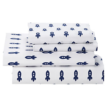 Organic Little Prints Blue Rocket Full Sheet Set