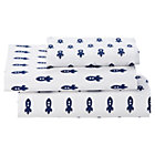 Twin Blue Rocket Little Prints Sheet SetIncludes fitted sheet, flat sheet and one pillowcase