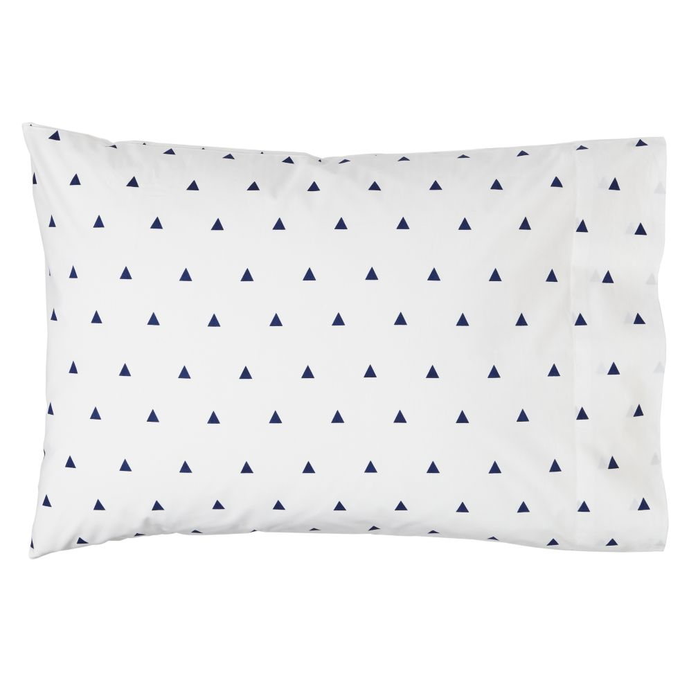 Organic Little Prints Blue Triangle Pillowcase