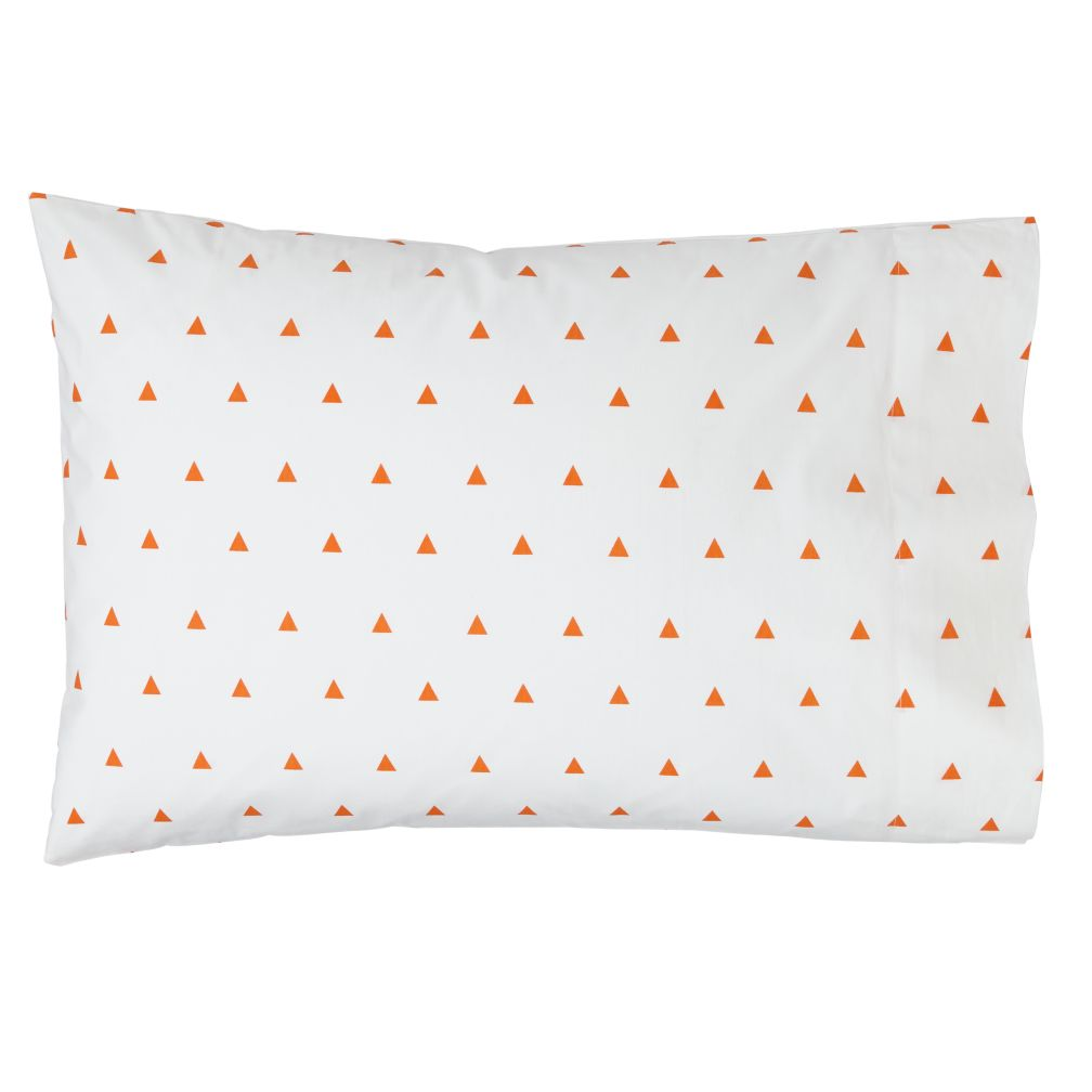 Organic Little Prints Orange Triangle Pillowcase