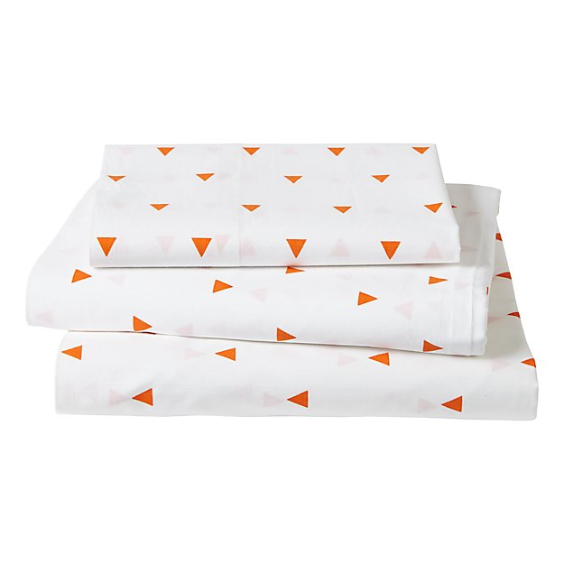 Organic Little Prints Orange Triangle Twin Sheet Set