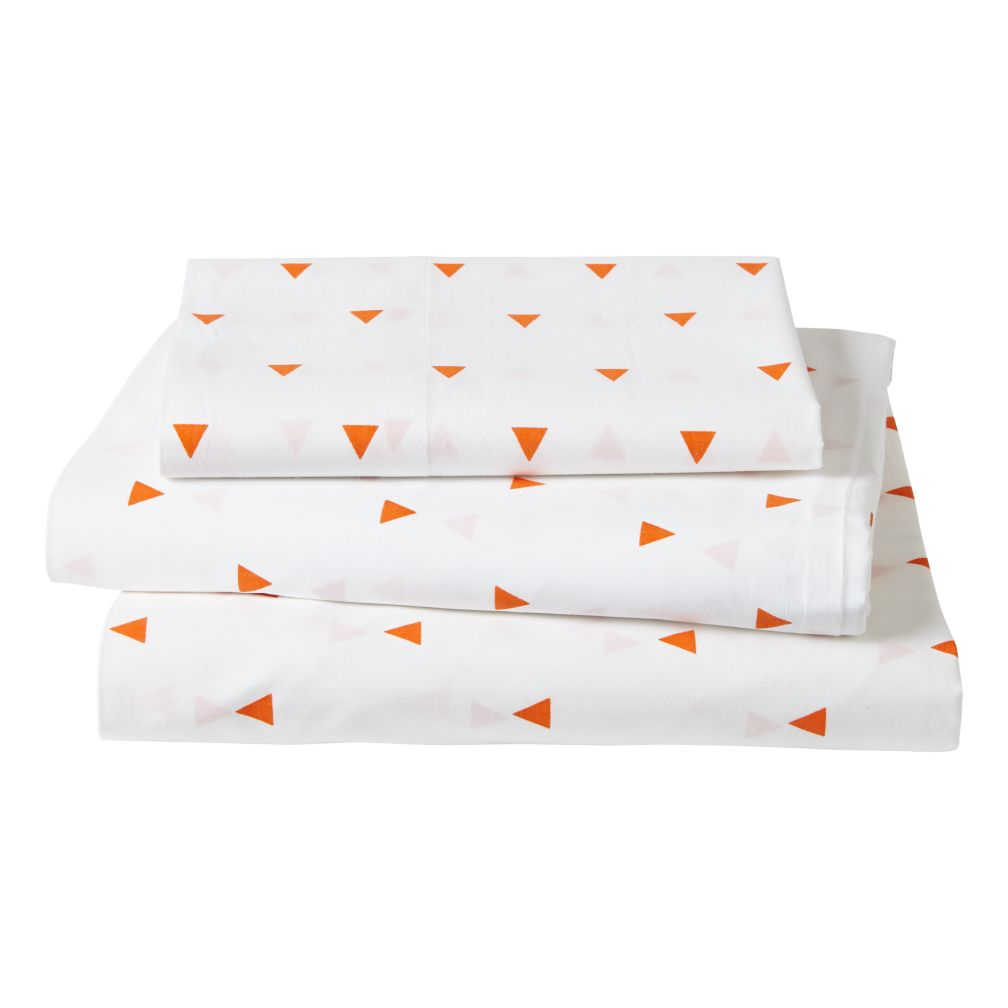 Twin Little Prints Sheet Set (Orange Triangle)