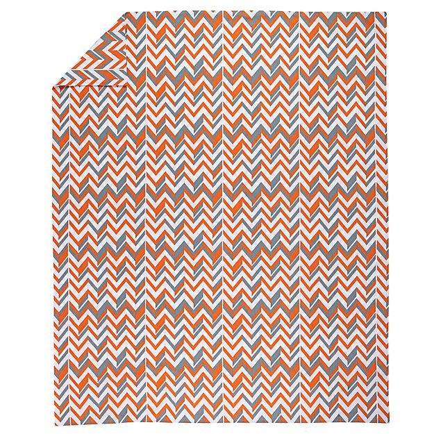 Full-Queen Little Prints Duvet Cover (Orange Zig Zag)