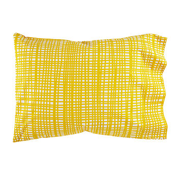 Organic Mod Botanical Yellow Hatch Pillowcase