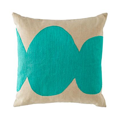 Mod Botanical Throw Pillow Cover (Aqua)