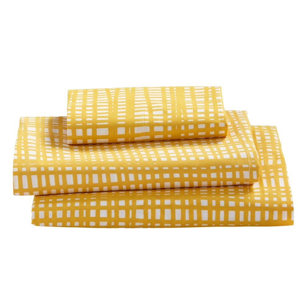 Organic Mod Botanical Yellow Hatch Twin Sheet Set