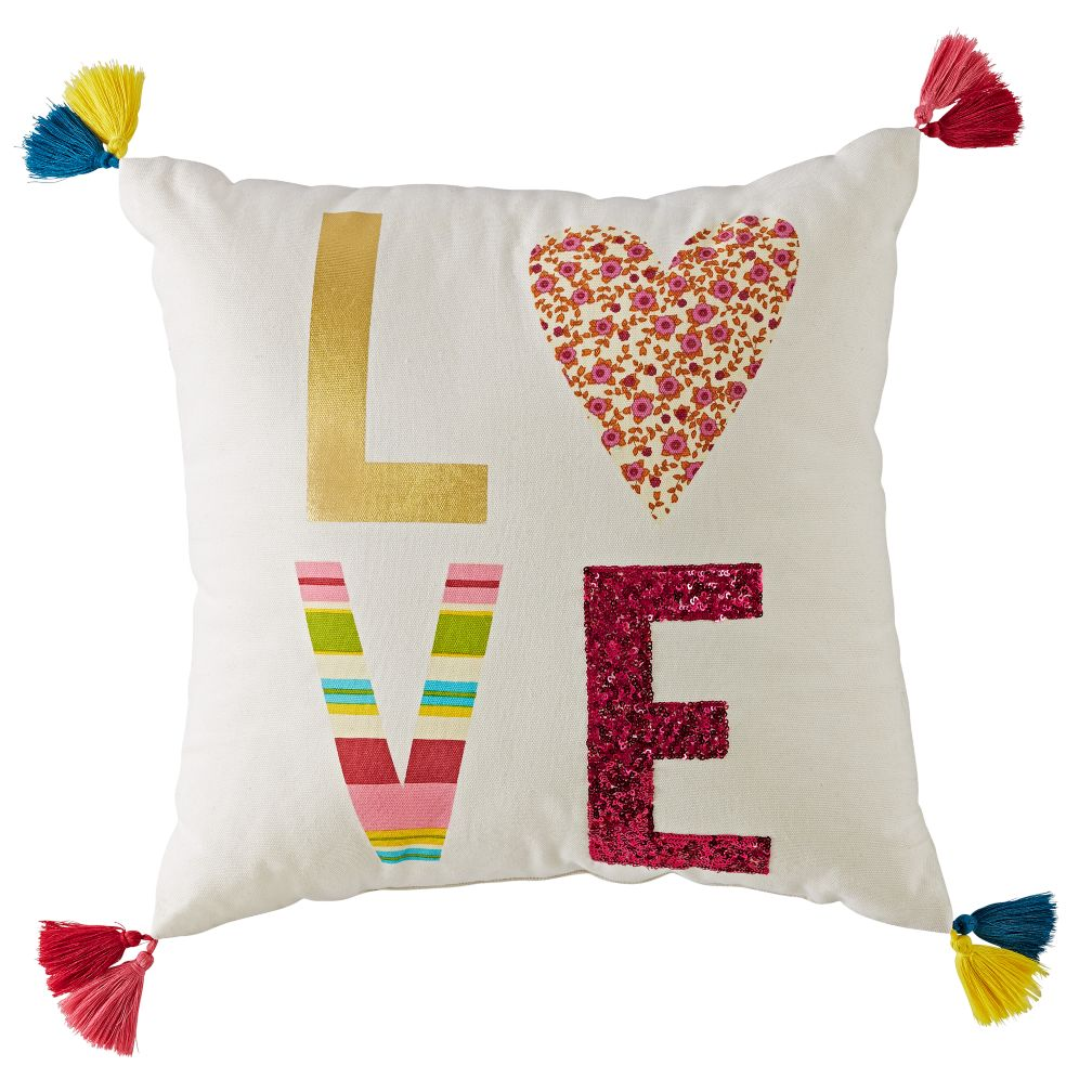 Modern Mosaic Love Pillow Cover