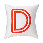 "Red ""D"" Bright Letter Throw Pillow"