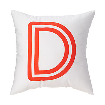 'D' Bright Letter Throw Pillow