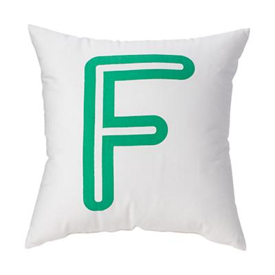 'F' Bright Letter Throw Pillow