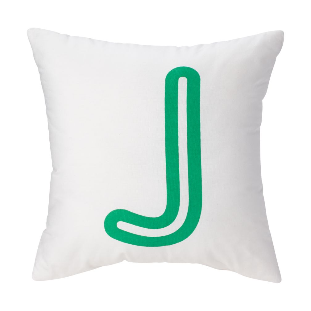 'J' Bright Letter Throw Pillow | The Land of Nod