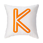 Orange 'K' Bright Letter Throw Pillow