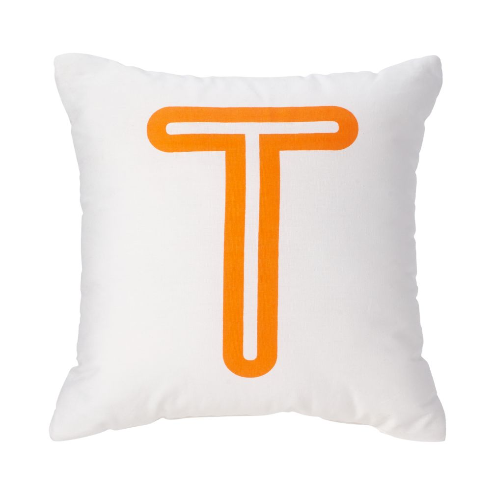 'T' Bright Letter Throw Pillow