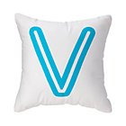 "Aqua ""V"" Bright Letter Throw Pillow"