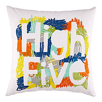 Orange High Five Throw Pillow