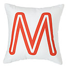 Red 'M' Bright Letter Throw Pillow