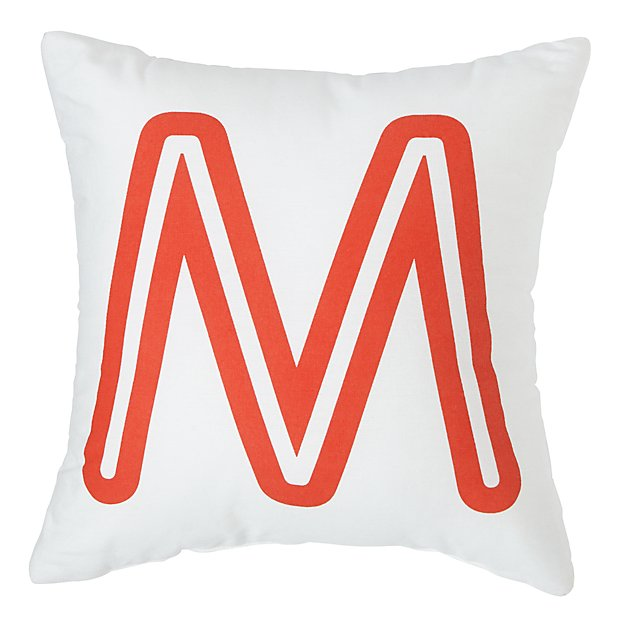 Letter M Throw Pillow :  M Bright Letter Throw Pillow The Land of Nod