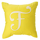'F' Typeset Yellow Throw Pillow