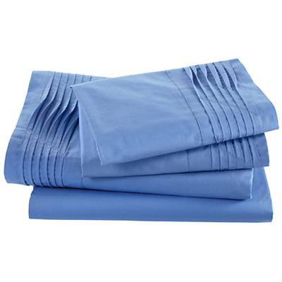 Pinch and Pleat Blue Sheet Set (Queen)