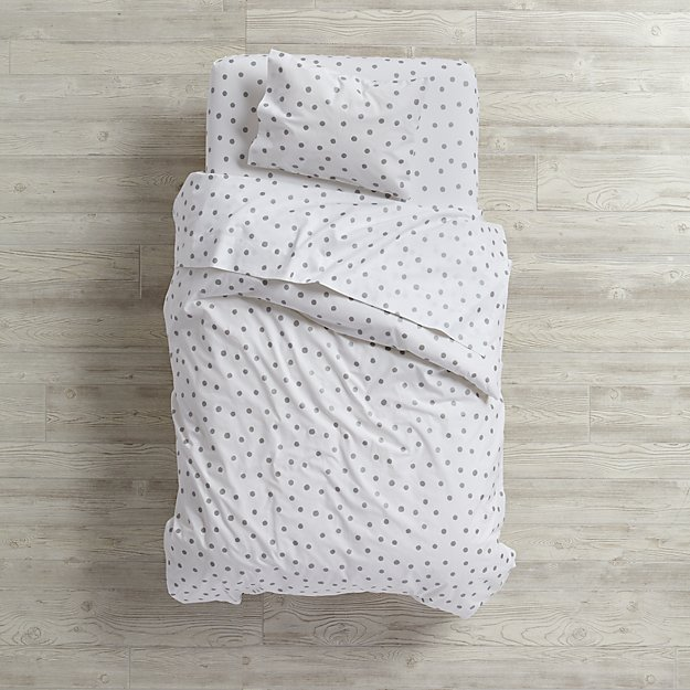 Organic Silver Dot Toddler Bedding