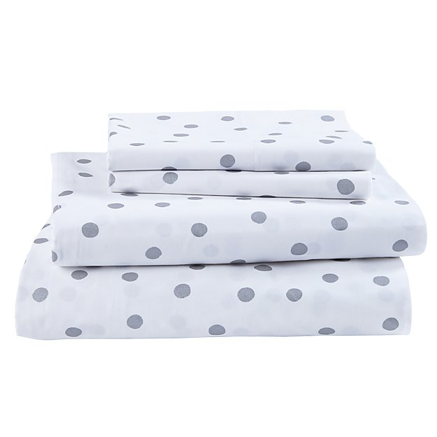 Organic Silver Dot Queen Sheet Set